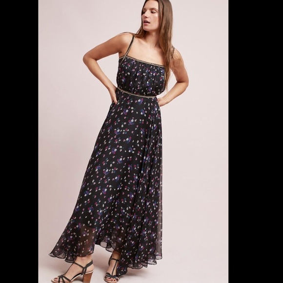 Anthropologie Dresses   Ranna Gill Black Floral Chiffon Beaded Gown ...